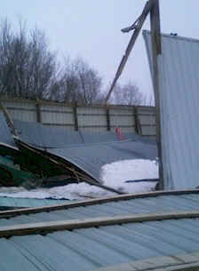 wood pole barn collapse