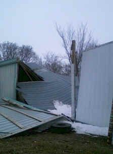 wooden barn fallen collapse