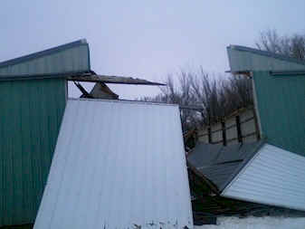 wood barn collapse
